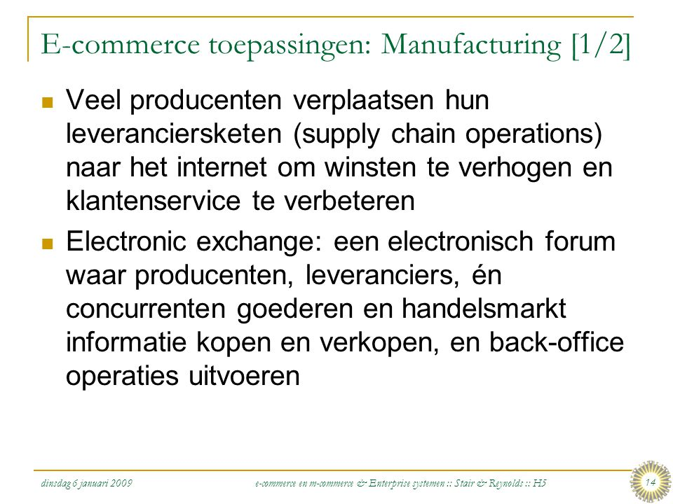 E-commerce toepassingen: Manufacturing [1/2]